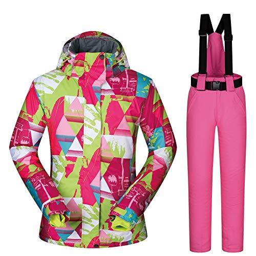 HQEFC Combinaisons de Neige/Ensemble de Combinaison de Ski pour Femmes Ensemble de placage d'extérieur d'hiver Double Board Warm Ski Top Pants Suit,G,M