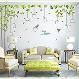 skwff Grandes pegatinas de pared con marco de árbol de foto dormitorio romántico fondo aula animación pegatinas de diseño para el hogar