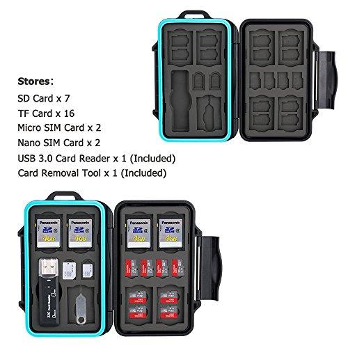 Speicherkarten Tasche Wasserdicht Schutzhülle für 16 Micro SD-Karten TF Karten und 7 SDXC SDHC SD-karten mit USB 3.0 Kartenlesegerät von JJC