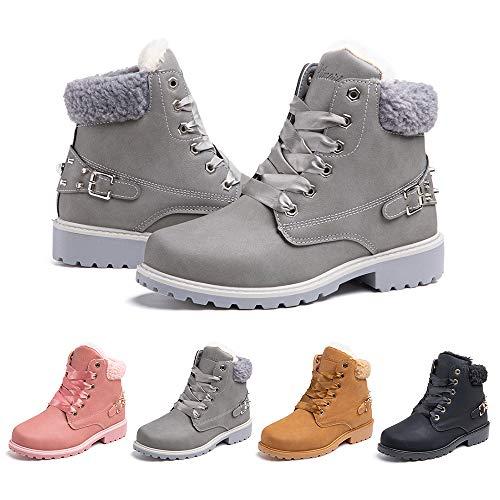 Hitmars Buty zimowe damskie, botki, buty zimowe z podszewką, buty z krótką cholewką, szary - Buty 01 szare - 38 EU