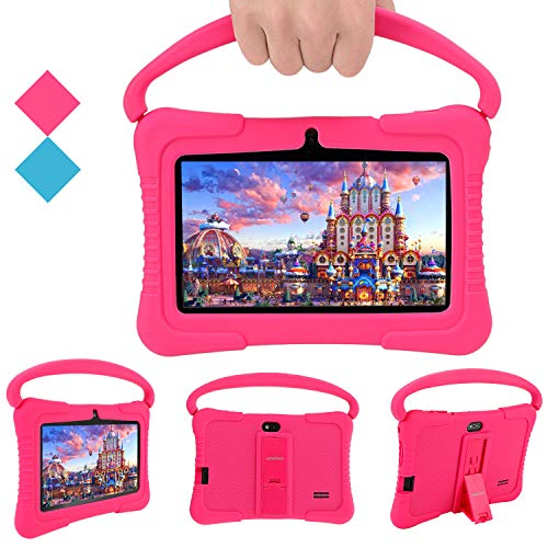 Kids Tablet, Veidoo 7 inch Android Tablet PC, 1GB RAM 16GB ROM, Safety Eye Protection Screen, WiFi, Bluetooth, Dual Camera, Educationl, Games, Parental Control APP, Tablet with Silicone Case (Pink)