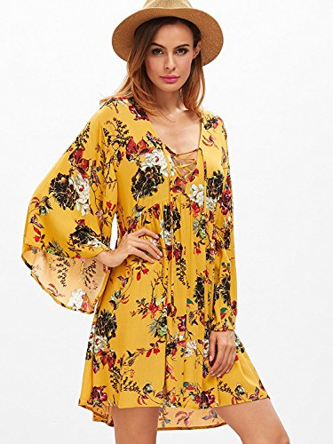 Milumia Women's Floral Print Front Cross Lace up Deep V-Neck Flare Sleeve Loose Short Mini Dress X-Large Yellow-2