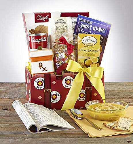 GreatFoods Get Well Gift Basket with Campbell's Chicken Noodle Soup and Lemon Tea - Deluxe