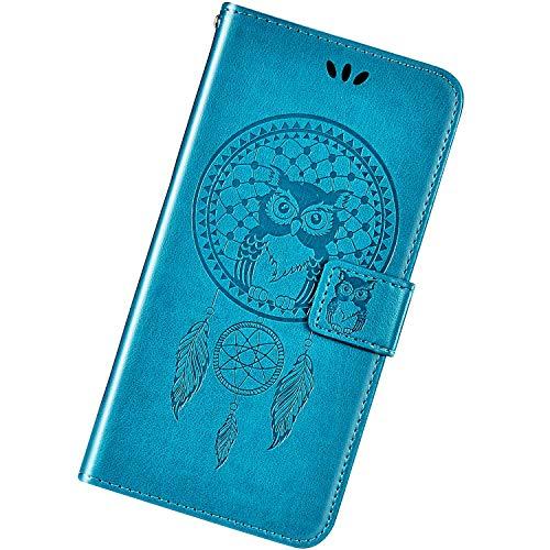 Funda Compatible con Huawei P8 Lite.Cuero Patrón Búho Relieve Case Estampado PU Carcasa Flip Billetera Ranura para Tarjeta Magnético Protectora Plegable Soporte Ultra Delgado Atrapasueños Bumper,Azul