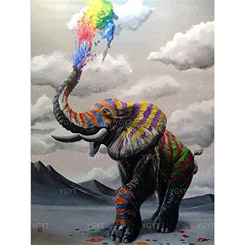 Puzzle 1000 Piezas Animal de Arte Elefante Colorido Puzzle 1000 Piezas paisajes Rompecabezas de Juguete de descompresión Intelectual Educativo Divertido Juego Familiar para ni50x75cm(20x30inch)