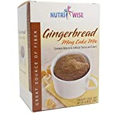 NutriWise - High Protein Diet Mug Cake Mix | Low Cal, Gluten Free, Low Sugar, High Fiber (Gingerbread, 1 Box - 7 Count)