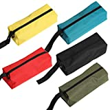 5 Packs Canvas Zippered Pouches, Versatile Hand Tool Pouch Tote Bag, Heavy Duty Waterproof Tool Zipper Organizer Case Storage Bag, Tools Gifts For DIY Handyman Women Men Dad Husband