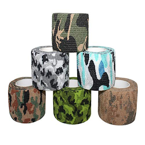 COMOmed selbstklebender verband elastische binde handgelenk bandage pflaster rolle Dog Bandagen Tierische Bandagen 5 cm (Camouflage, 6 Rollen)