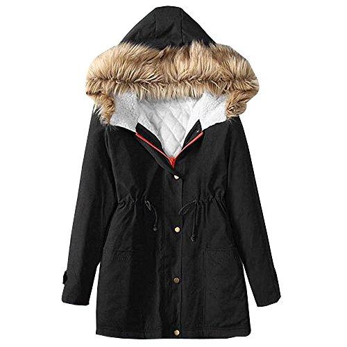 BOZEVON Hiver Long Manteau à Capuche Col de Fourrure Épaisse Hoodies Blouson Pardessus Coton Veste - Noir