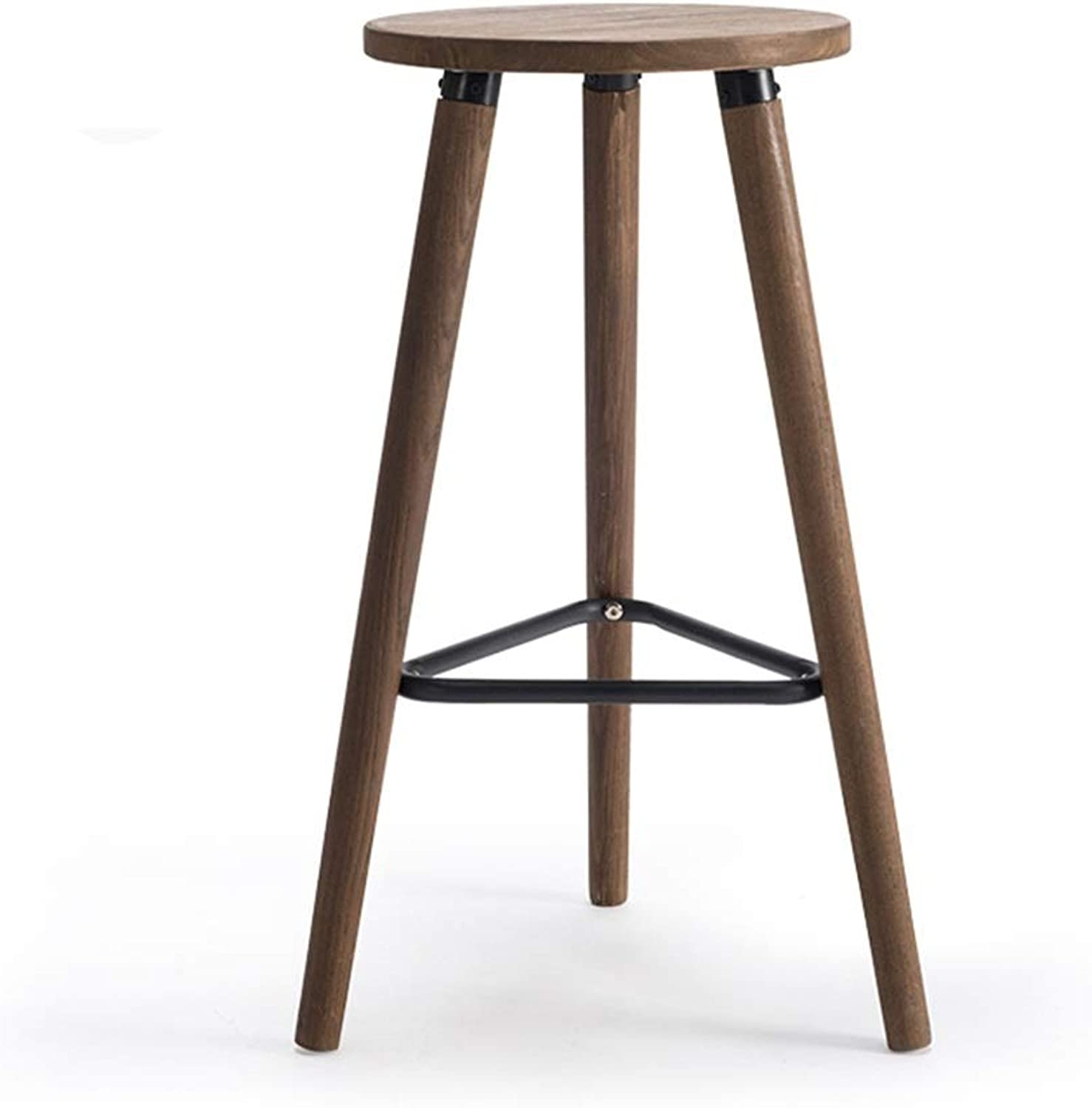 Personality Solid Wood Bar Stool Industrial Retro High Foot Chair Cafe Counter Round Seat Dining Table Creative Household 0527A