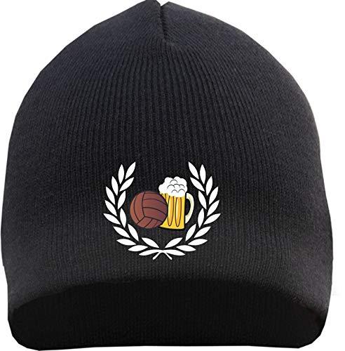 HB_Druck Lorbeerkranz Fussball Bier Beanie - Bestickt - Mütze Einheitsgröße Schwarz