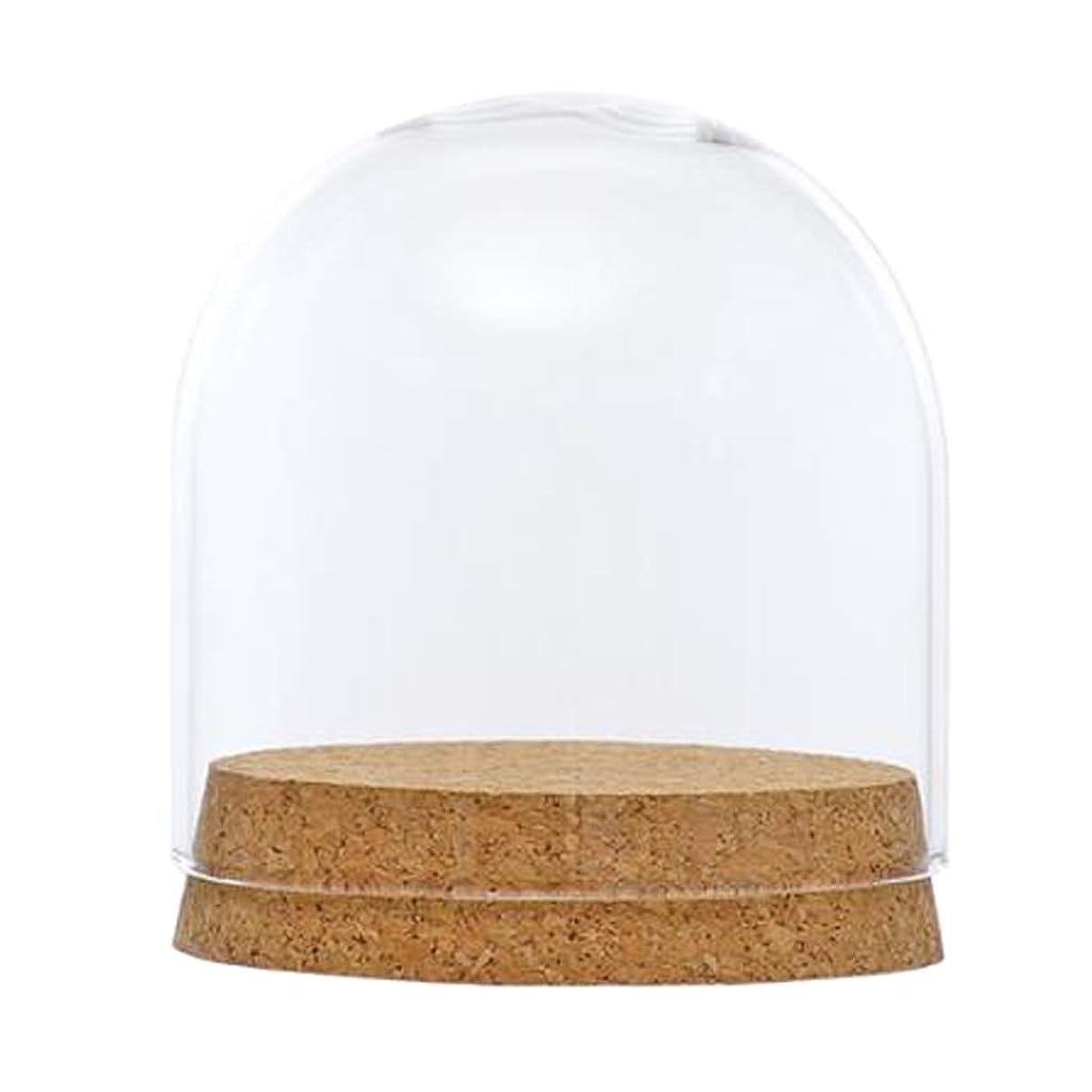 病院層ウッズFenteer ガラスドームカバークローシュベルジャーテラリウム木製コルク、結婚式のパーティーの装飾ミニチュアクラフト - #1