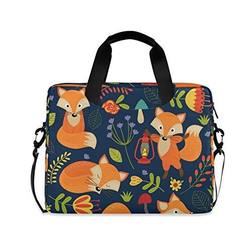 OOWOW Laptop Bag for Women Men Cute Animal Fox Flower Leaves Lightweight Briefcase 14 15.6 16in Laptop Sleeve Case Computer Shoulder Messenger Bag