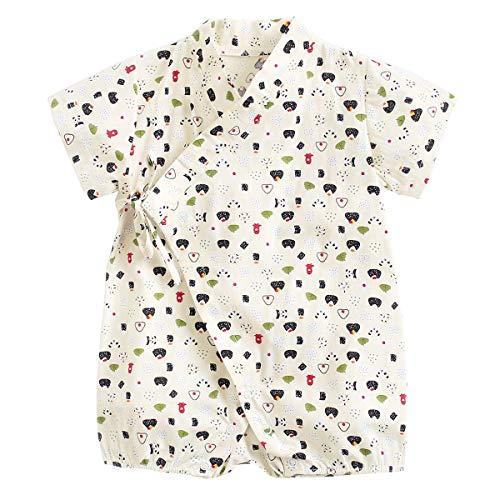 Dizoony Baby Kimono Giapponese Robe Unisex Pagliaccetto Neonato in Cotone Comodo Pigiama Sciolto (B-4 White,6-12 Mesi)