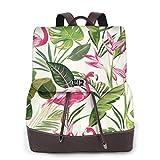 Hello Summer Damen Rucksack Leder Rucksack Reise Arbeit College Computer Schultasche, - Flamingo und Pflanzenmuster - Größe: Einheitsgröße