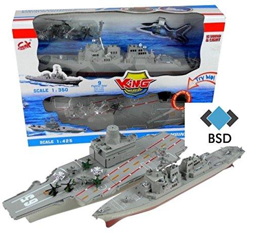 BSD Flugzeugträger und Schlachtschiff Modell mit Ton und Licht - Flugzeugträger mit Militärflugzeuge, Hubschrauber und Schlachtschiff