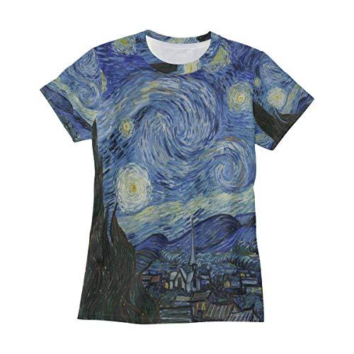 AHOMY Camiseta de manga corta para mujer, diseño de Van Gogh con luna estrellada y cuello redondo