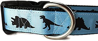 CANINEDESIGN QUALITY DOG COLLARS Dinosaur Dog Collar, Caninedesign, Green, T-Rex, Stegosaurus, Triceratops, 1 inch Wide, Adjustable, Nylon, Medium and Large