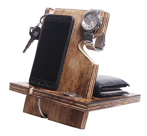 Gifts Ideas Handmade Burning Wooden Phone Docking Station Desk Organizer for Smartphone with Key Holder, Wallet Stand and Watch Organizer Men's Gift Android iPhone