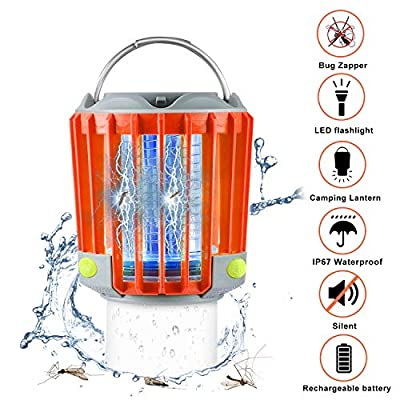 SUPOLOGY Bug Zapper Camping Lantern, IP67 Waterproof Rechargeable Flashlights 4 Lighting Modes Dimmable Emergency LED Light for Home Party, Yard, Camping, Hiking, Fishing, Hurricane, Outage