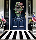 EARTHALL Black and White Striped Rug 27.5 x 43 Inches Cotton Hand-Woven Reversible Foldable Washable Black and White Outdoor Rug Stripe for Layered Door Mats Porch/Front Door Black Rug