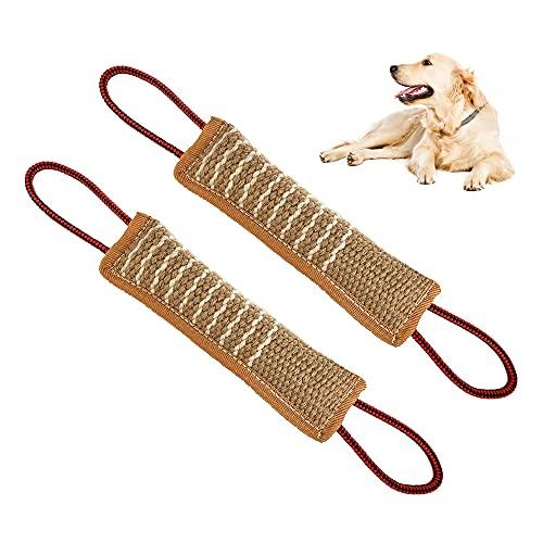 YeenGreen Beißwurst Zerrspielzeug, Beisswurst für Hunde, Beisswurst für Hunde Weich, 2 Stück 30cm Beisswurst für Hunde, Bissstock mit Zwei Schlaufen
