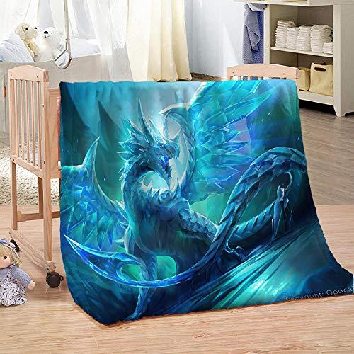 ZFSZSD Kuscheldecke Blauer und Fliegender Drache Flauschige Fleece Flanell Sofadecke Warm und Weich - Anti-Fusseln Tagesdecke Schlafdecke Überwurf 51x59 inch