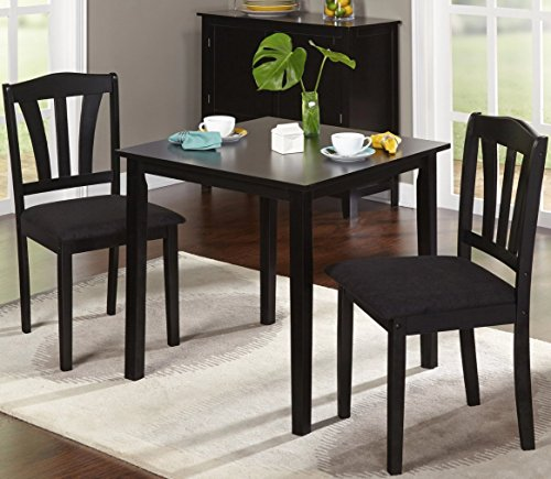 Harewood 3 Piece Dining Set, Constructed of Sturdy Rubber Wood with Microsuede Upholstered Seats (Black)