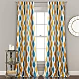 Lush Decor, Turquoise & Orange Mid Century Geo Room Darkening Window Curtain Panel Pair, 84' x 52'
