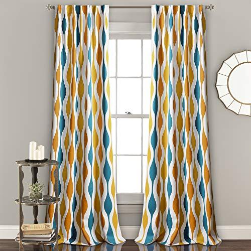 "Lush Decor Mid Century Geo Room Darkening Window Curtain Panel Pair, 84"" x 52"", Turquoise & Orange"