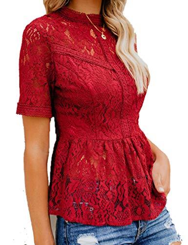 Tobrief Womens Mock Neck Short Sleeve Ruffle Hem Mesh Lace Top Wine Red S