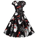 NOBRAND Vestido de Navidad de Moda para Mujer, Estampado de Invierno, Papá Noel, Fajas Negras,Vestido Vintage,Ropa para Mujer