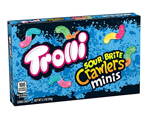 Trolli Sour Brite Crawlers Gummy Worms, Theater Box, 3.5 Ounce, Pack of 12, Multi