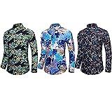 Hombres imprimidos Camisas Hawaianas de Manga Corta Botón Casual Abajo Camisetas de Manga Larga Camisas de algodón de Playa Delgada Tops 3 Paquetes Combinación aleatoria-123_4XL