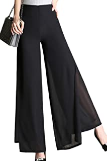 3cfc48c3a1b Yacun Wide Leg Palazzo Pants Womens Long Work Chiffon Split Trousers