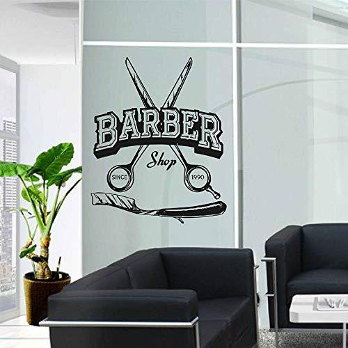 Modeganqingg Friseurschere Logo Wandaufkleber Vinyl Fenster Dekor Friseur Aufkleber Haarschnitt Wandbild Tapete Abnehmbare Zeit Schwarz 42x52 cm