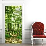 ZDDBD 3D Stickers Porte Interieure Trompe l'oeil Poster Mural Effet Décoration Forêt Verte À Flanc De Colline Salon Cuisine Chambre Salle De Bain Papier Peint 90 * 200Cm