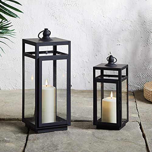 Lights4fun 2er Set Bunbury Metall Laternen schwarz inkl. TruGlow® Kerzen mit Timer für Innen & Außen