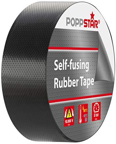 Poppstar 1x selbstverschweißendes Universal Isolierband und Dichtungsband, LxBxH 10m x 38mm x 0,76mm, schwarz