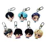 Cartoon Key Ring Set Kpop Merchandise Bangtan Boys Acrylic Keychain Gift for Army Girls