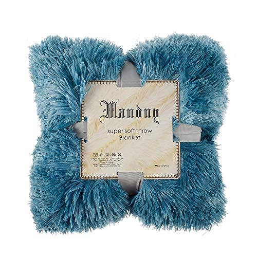 Relax love Coperta Pelliccia per Divano a Pelo Lungo 130x160cm Coperta Plaid di Divano Letto Pelliccia Inverno Caldo Morbido (Blu di Mare, 130x160cm)