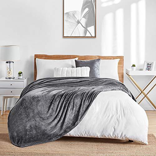 Walensee Fleecedecke, flauschig, leicht, Doppelbett, 152,4 x 203,2 cm, dunkelgrau, superweiche Mikrofaser-Flanell-Decken für Couch, Bett, Sofa, ultra-luxuriös, warm und gemütlich alle Jahreszeiten.