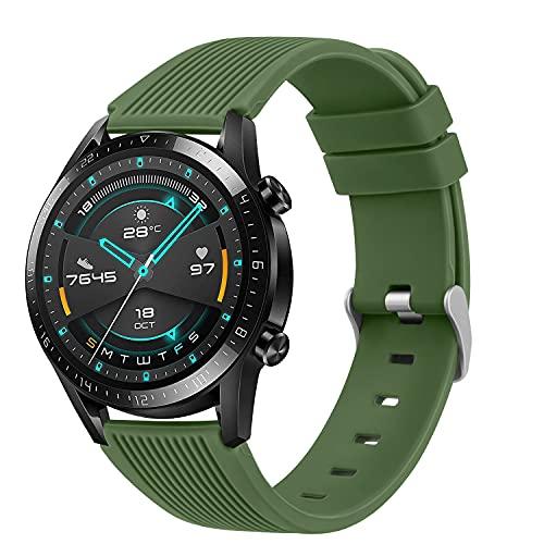 DEOU Correa Compatible con Huawei Watch GT 2 46mm,22mm Pulseras de Repuesto de Suave Silicona para Huawei Watch GT2 Classic / GT2 Pro 46mm / Huawei Watch GT 2e / GT Sport Active 46 mm(Verde Oliva)