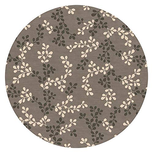 NLGGY 120CM-47inch Rug Brown Deco Rings Modern Casual Round Area Rug Easy to Clean Stain/Fade Resistant Contemporary Living Dining Room Bedroom Rug