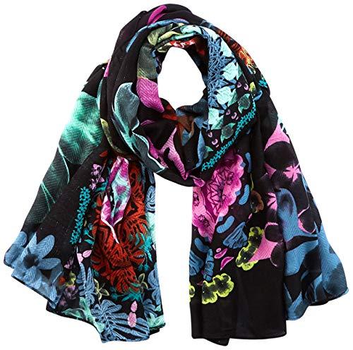 Desigual Womens Fou_Mandala Flourish Fashion Scarf, Black, U