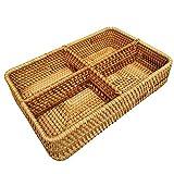 Handwoven Rattan 4-Compartments Rectangle Storage Organizer Utensil and Bottle Serving Basket 4 Divider Fruit Nut Tabletop Bowl