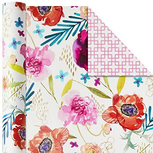 ホールマークあらゆる機会にリバーシブルラッピングペーパー(花の花3枚パック120平方フィートTTL)イースター、母の日、誕生日、ブライダルシャワー、ベビーシャワー、その他あらゆる機会に