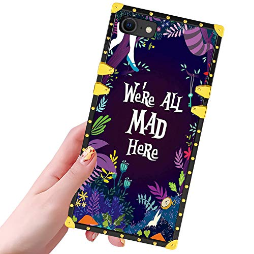 DISNEY COLLECTION iPhone SE 2020 Case, iPhone 7 Case, iPhone 8 Case Alice in Wonderland Pattern Design Glitter Luxury Slim Shockproof Bumper Protective Cover for iPhone SE,iPhone 7/8 (4.7 Inch)