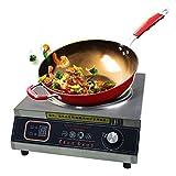Cocina eléctrica de inducción con carcasa de acero inoxidable, hornillo de cocina portátil, placa de cristal negra para familias y restaurantes pequeños, 3500 W