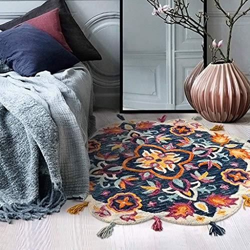 xhnm Indoor Bodenmatte Teppich Pads Teppich Multifunktions Wollteppich runden Teppich Wohnzimmer Sofa Teppich Schlafzimmer Nachttisch Teppich Fringe Spitzenteppich,C,90 * 90 * 1cm